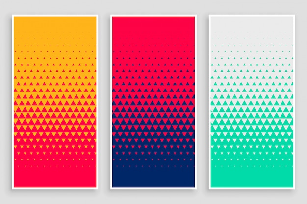 Треугольник полутонового рисунка в разные цвета