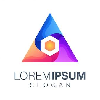 Triangle hexagon gradient color logo design