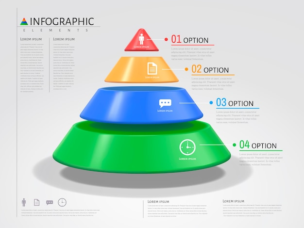 Triangle infographic, plastic texture with different colors in illustration