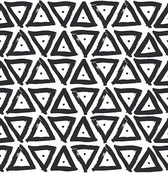 三角インク筆装飾シームレスパターン、ペイントストロークスポットのセット。手作りの創造的な抽象的なデザイン。ベクター