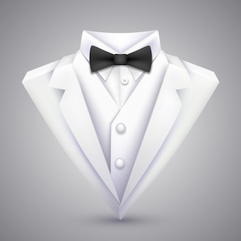 Triangle jacket with a bow tie. vector illustration