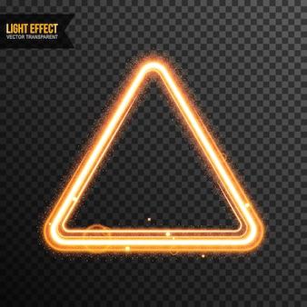Triangle light effect vector transparent with golden glitter
