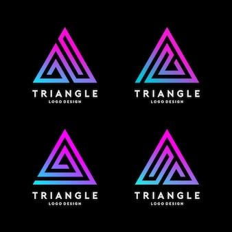 삼각형 선 로고 디자인 벡터 세트