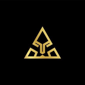 Triangle lion face logo template
