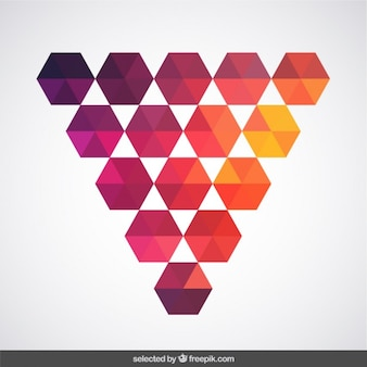 Triangle made with warm colors hexagons
