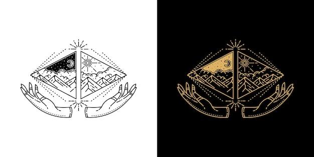 Triangle mountain with hand geometric tattoo monoline design