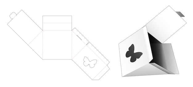 Triangle packaging with butterfly shaped window die cut template
