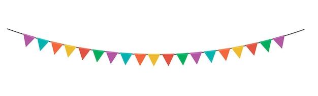 三角形のパーティーフラグの花輪が分離されました