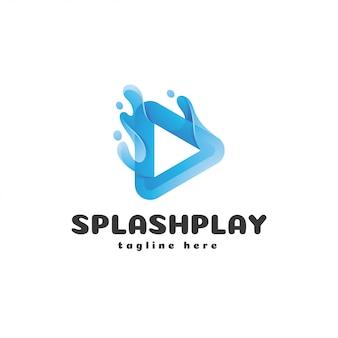 Треугольная кнопка воспроизведения и логотип liquid splash