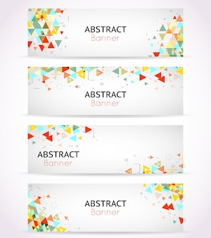 Triangle polygonal banners or abstract headers