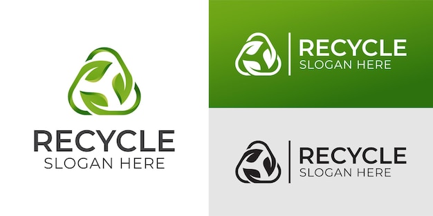 Triangle recycle with green leaf, recycling ecology logo or icon design