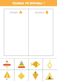Triangle or rhombus. sort by shape. educational game for learning basic shapes.