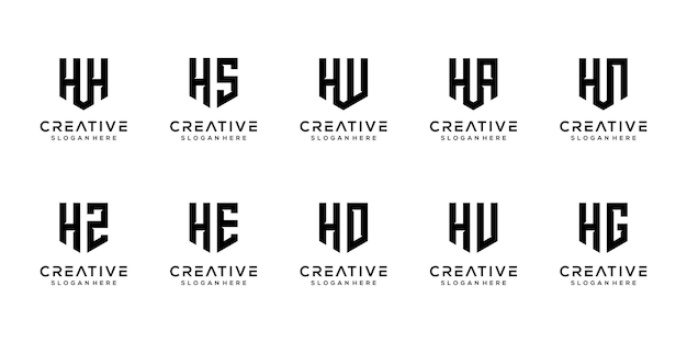 Triangle shape letter h combined with other monogram logo designs