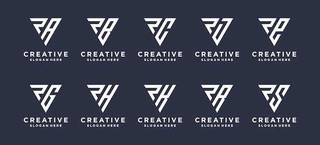 他の抽象的なロゴデザインと組み合わせた三角形の文字r。