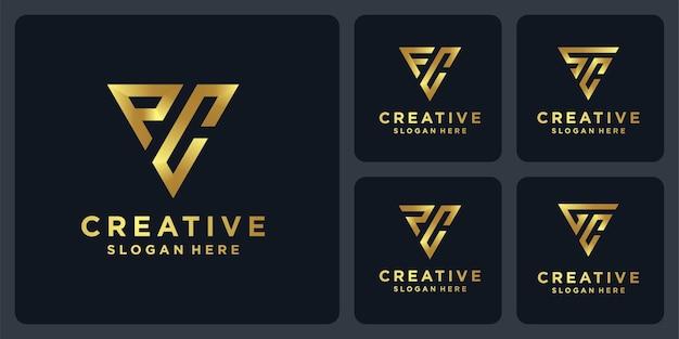 황금색 삼각형 모양 로고 컬렉션입니다.