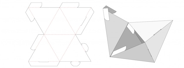 Triangle shaped packaging box die cut template design