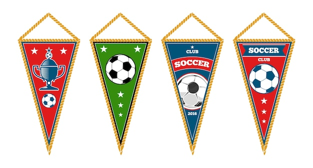 Triangle soccer pennants set isolated white