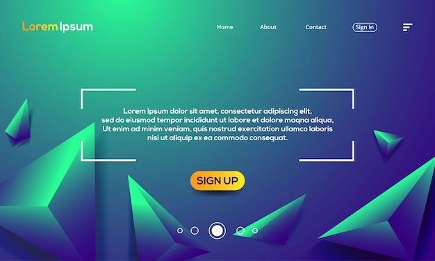 Triangle texture with green abstract background landing page template