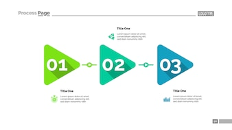 Triangle timeline chart with three steps. Process diagram, play sign, editable template.