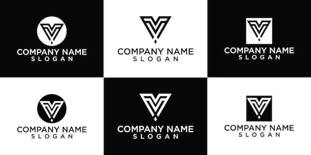 Triangle v letter line art logo design vector