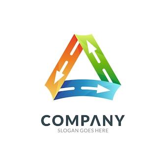 矢印の付いた三角形3dカラフルなグラデーションのロゴのテンプレート