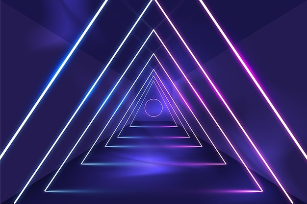 Triangles abstract neon lights background
