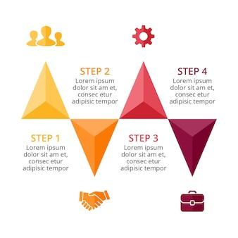 Треугольники, стрелки, вектор, шаблон презентации инфографики, диаграмма, 4 шага, части