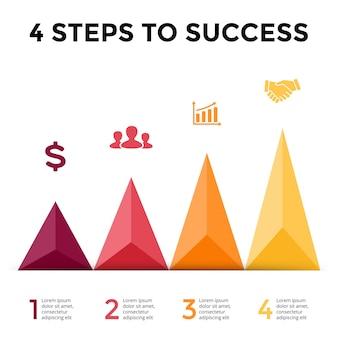 三角形の矢印ベクトルインフォグラフィックプレゼンテーションテンプレート図チャート4ステップのパーツ