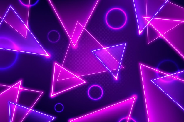 Triangles and circles abstract neon lights background