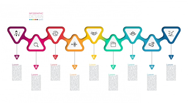 Triangles label infographic with step by steps.