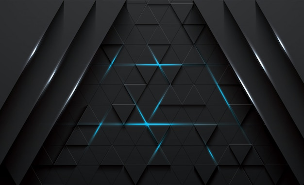 Triangular abstract 3d vector black background