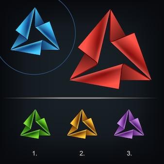 三角形の抽象的なロゴ、定型化されたビジネスロゴのアイデア、