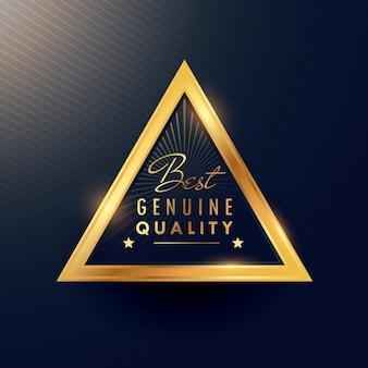 Triangular badge for premium products
