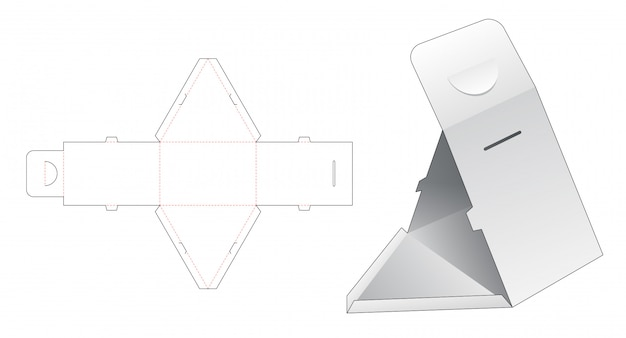 Triangular box die cut template