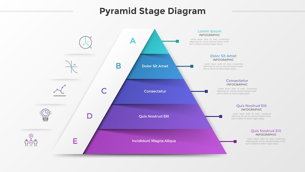 삼각형 차트 또는 피라미드 다이어그램은 5개 부분 또는 수준, 선형 아이콘 및 텍스트 위치로 나뉩니다. 프로젝트 개발의 5단계 개념입니다. 인포 그래픽 디자인 템플릿입니다. 벡터 일러스트 레이 션.