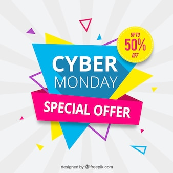 Triangular cyber monday design in flat style