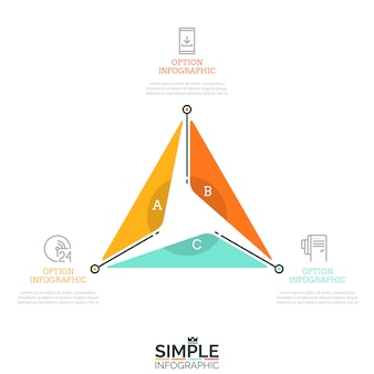 Triangular diagram divided into 3 lettered sectors and surrounded by thin line icons and text boxes. three advantages of company concept.