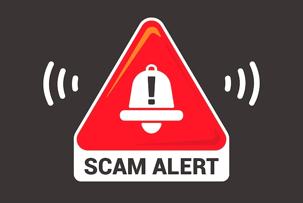 Triangular emblem caution scam. flat vector illustration