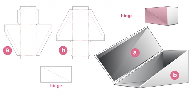 Triangular flip top box die cut template