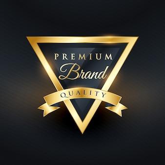 Triangular luxury label with ribbon