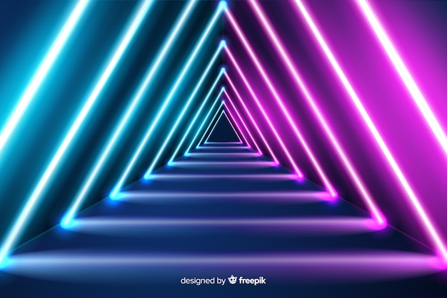 Triangular neon shapes background