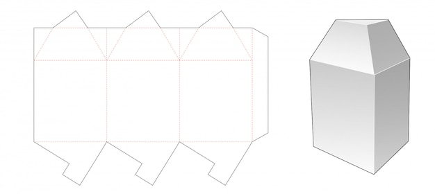 Triangular packaging box die cut template