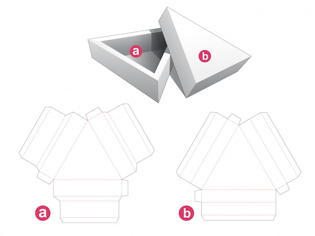 Triangular packaging box and lid die cut template