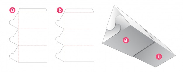 Triangular packaging with lid die cut template