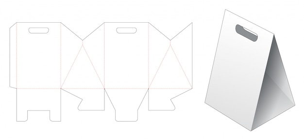Triangular paper bag die cut template