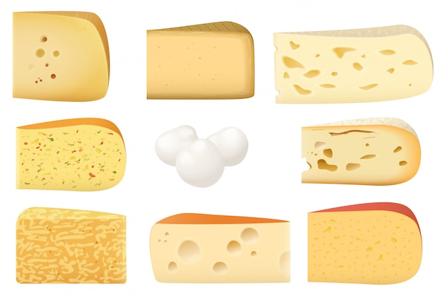 Triangular pieces of different cheese