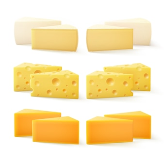 Triangular pieces of various kind cheese swiss cheddar bri camembert