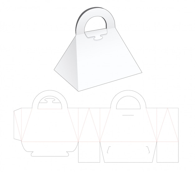 Triangular purse die cut template