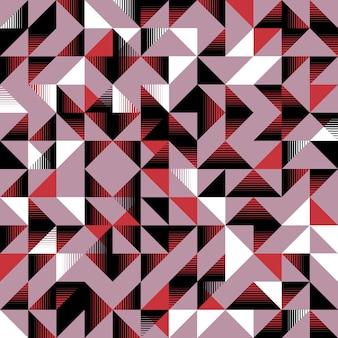 Треугольный бесшовный узор розовый черно-белый