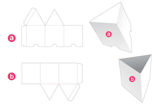 커버 다이 컷 템플릿이있는 삼각형 모양의 상자